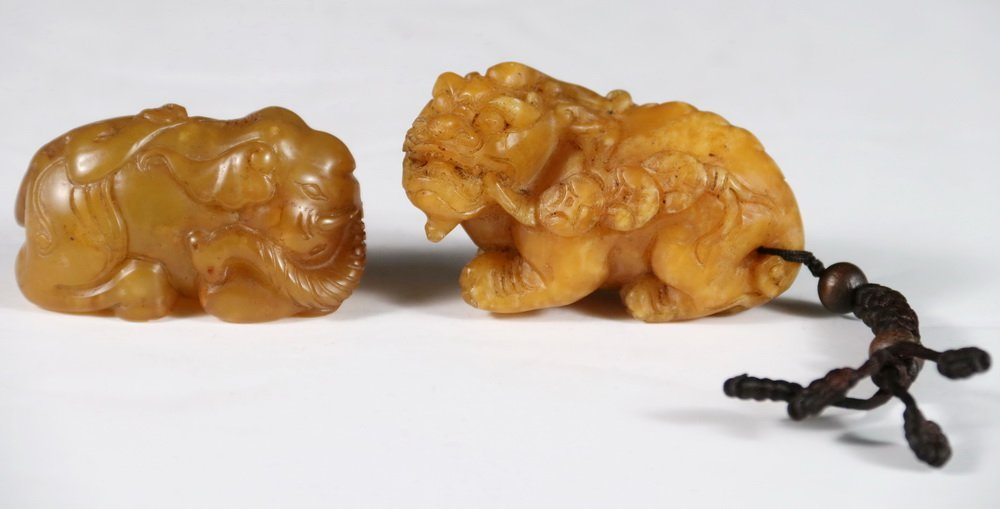 (2) CHINESE JADE SCROLL WEIGHTS - Figural Weights in