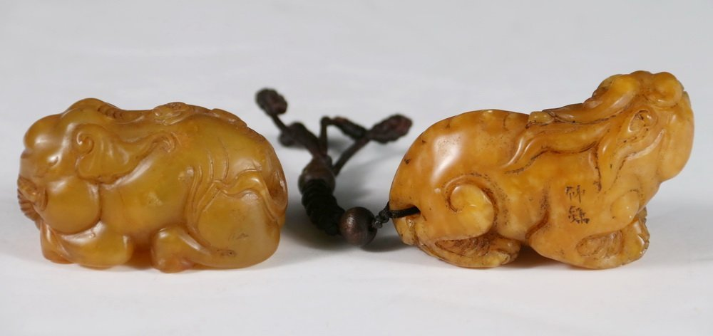 (2) CHINESE JADE SCROLL WEIGHTS - Figural Weights in - 2