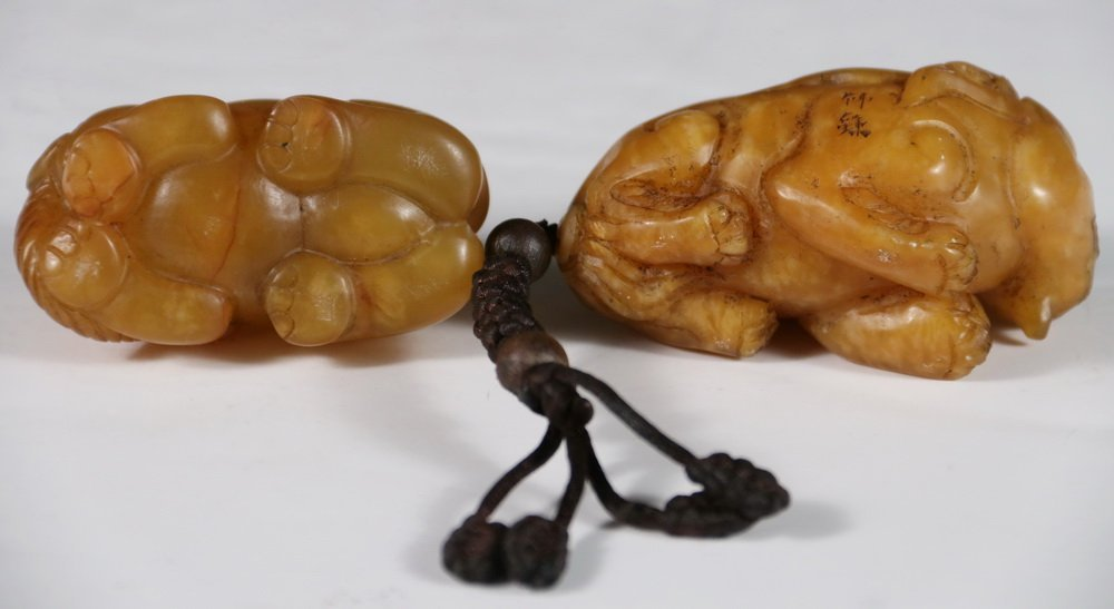 (2) CHINESE JADE SCROLL WEIGHTS - Figural Weights in - 3