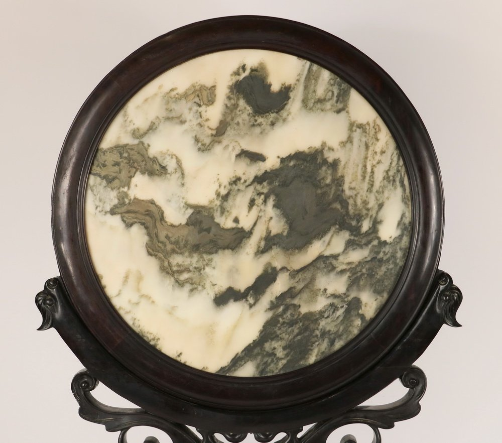 CHINESE TABLETOP SCREEN - Round Scholars Stone set into - 2