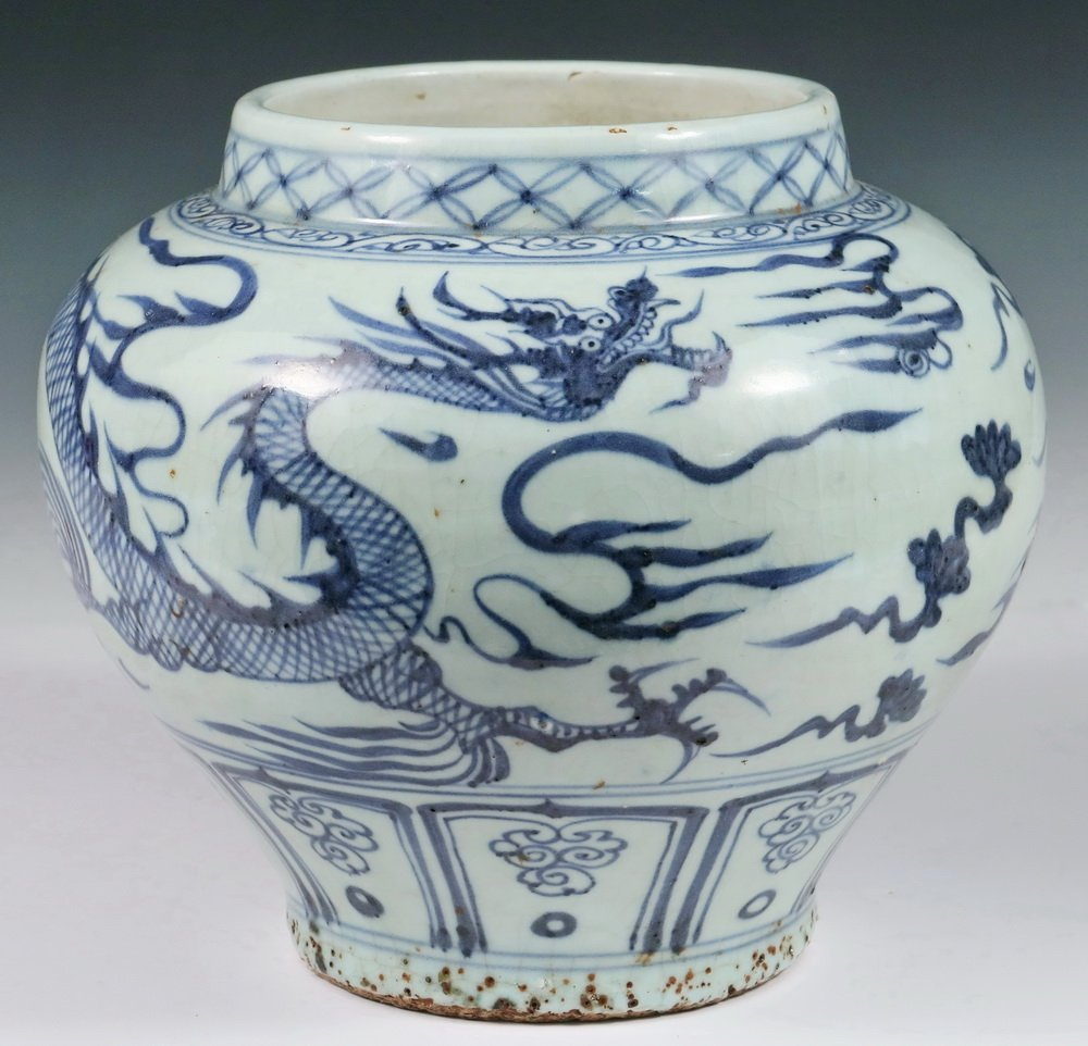 CHINESE POTTERY JAR - Ming Dynasty Style Squat Blue &