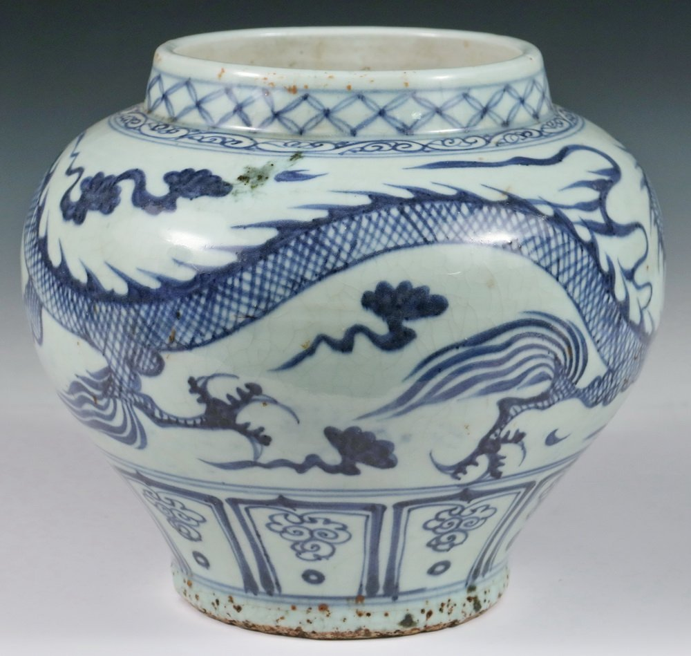 CHINESE POTTERY JAR - Ming Dynasty Style Squat Blue & - 2