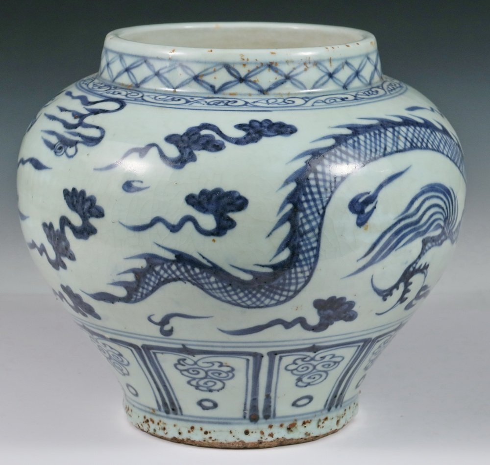 CHINESE POTTERY JAR - Ming Dynasty Style Squat Blue & - 3