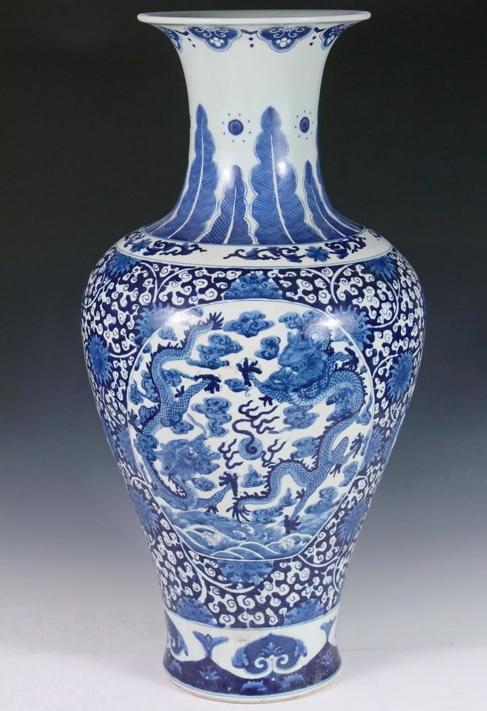 CHINESE PORCELAIN FLOOR VASE - Large Qing Blue and