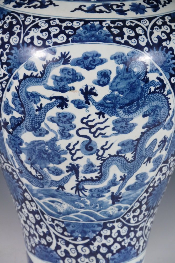 CHINESE PORCELAIN FLOOR VASE - Large Qing Blue and - 3