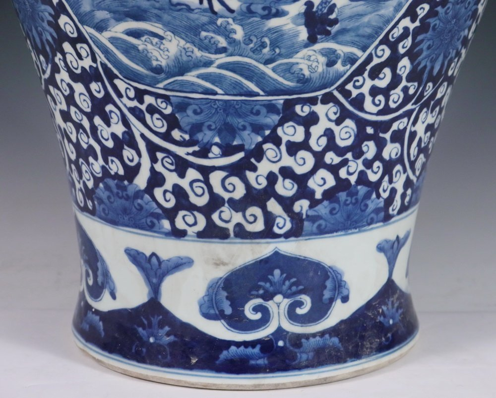 CHINESE PORCELAIN FLOOR VASE - Large Qing Blue and - 4