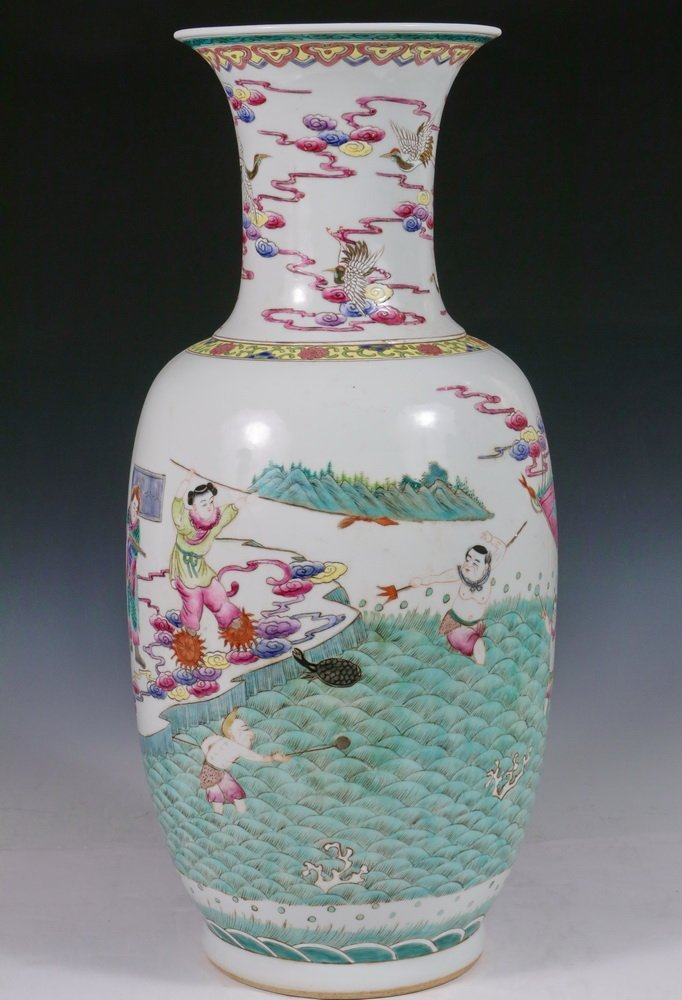 CHINESE PORCELAIN FLOOR VASE - Qing Style Baluster Vase - 2