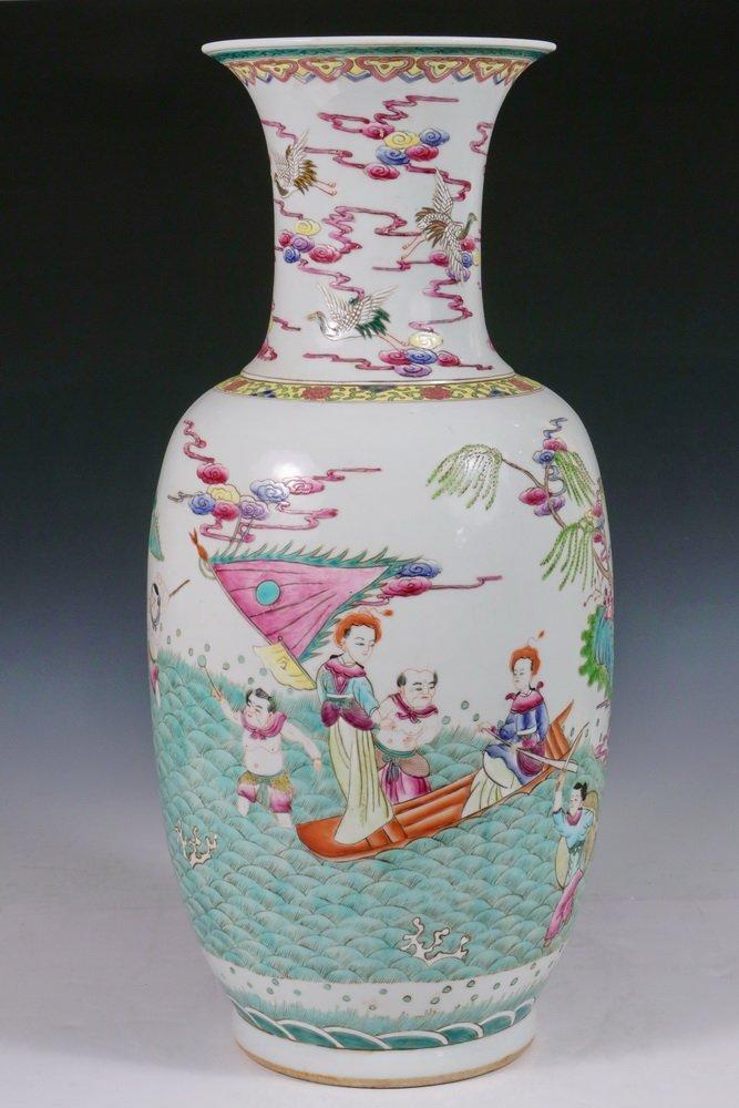 CHINESE PORCELAIN FLOOR VASE - Qing Style Baluster Vase - 3