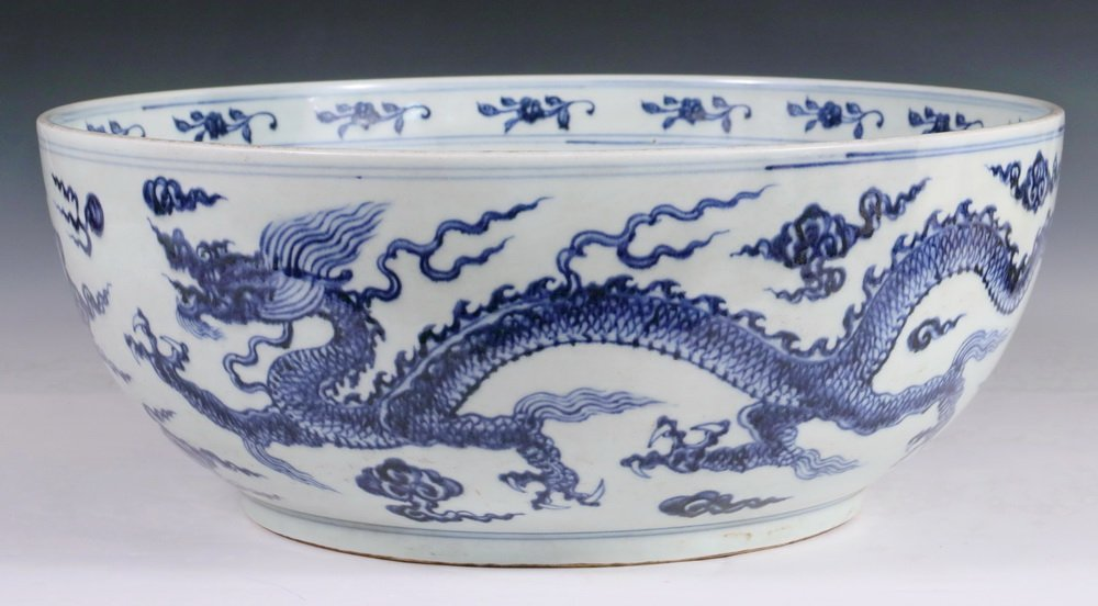 LARGE CHINESE PORCELAIN BOWL - Ming Style Blue and
