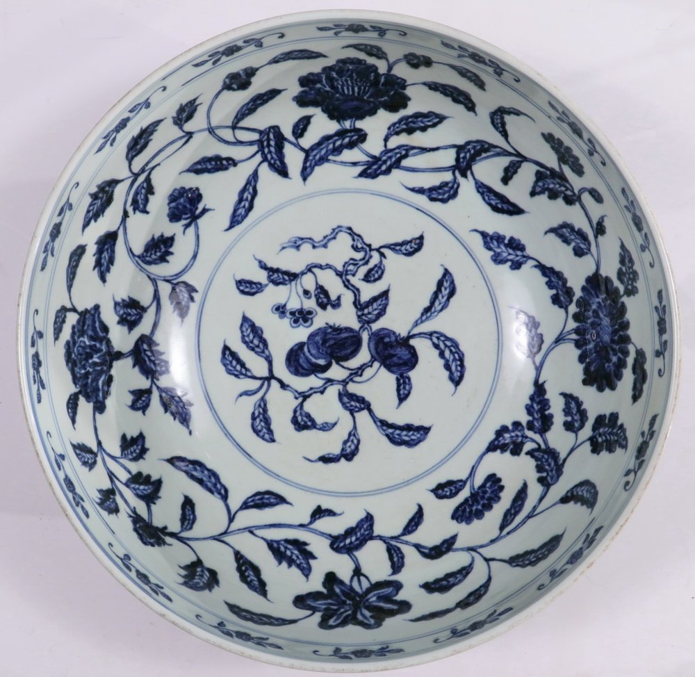 LARGE CHINESE PORCELAIN BOWL - Ming Style Blue and - 2