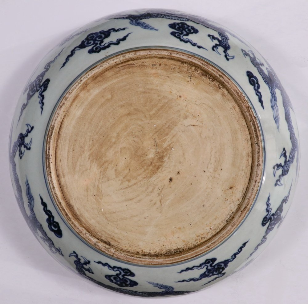 LARGE CHINESE PORCELAIN BOWL - Ming Style Blue and - 3