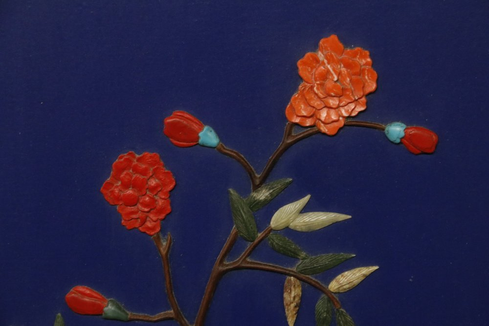 CHINESE PANEL - Large Blue Lacquer Panel in hardwood - 6