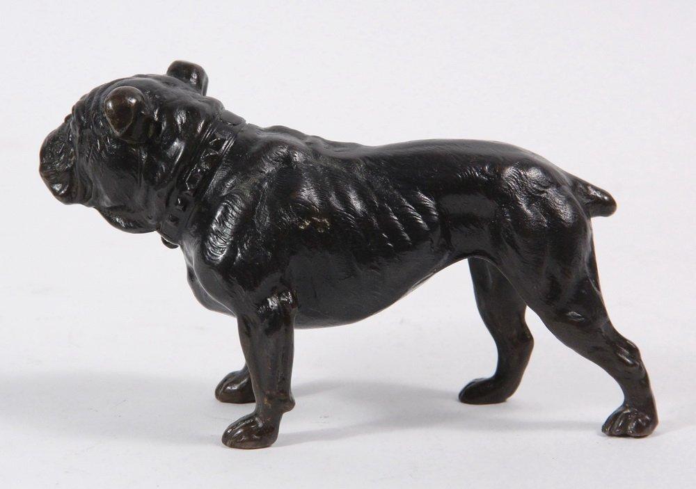 BRONZE SCULPTURE - Standing English Bulldog with - 2