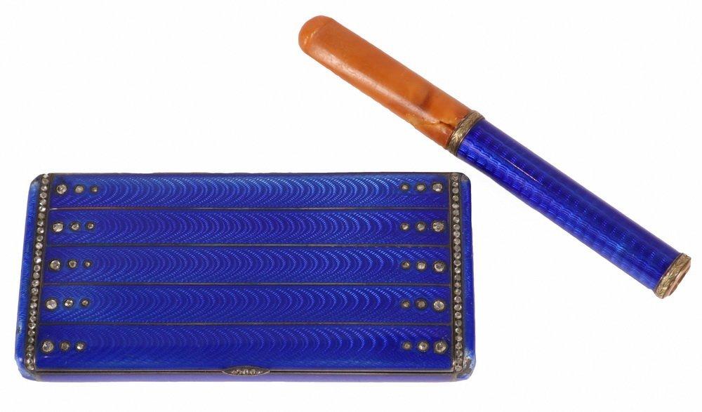 CIGARETTE CASE & HOLDER - Russian Royal Blue Guilloche