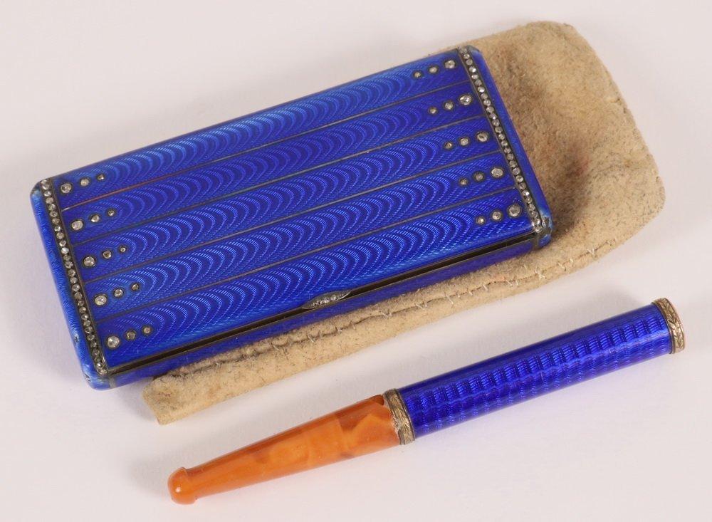 CIGARETTE CASE & HOLDER - Russian Royal Blue Guilloche - 3