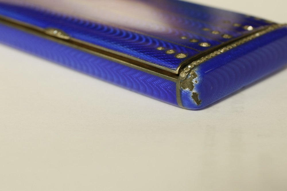 CIGARETTE CASE & HOLDER - Russian Royal Blue Guilloche - 8