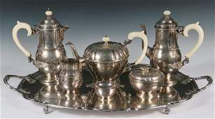BEVERAGE SERVICE - English Sterling Silver (7) Piece