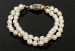 BRACELET  Double Strand Akoya Pearl Bracelet with 18K