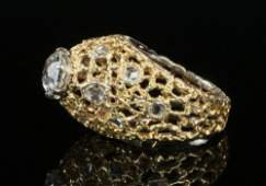 LADY'S RING - Lady's 18K Yellow Gold and Diamond Ring,
