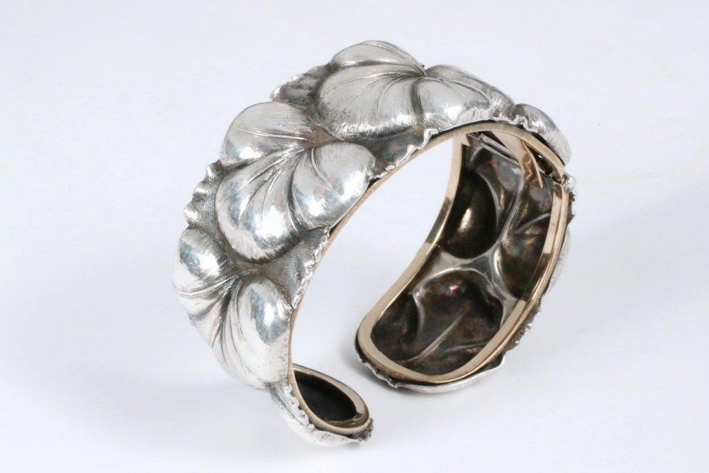 BRACELET - Silver Cuff Bracelet, with repousse leaf