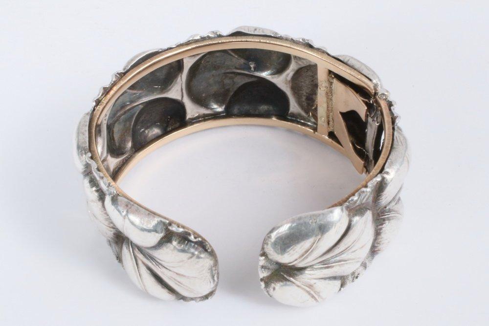 BRACELET - Silver Cuff Bracelet, with repousse leaf - 2