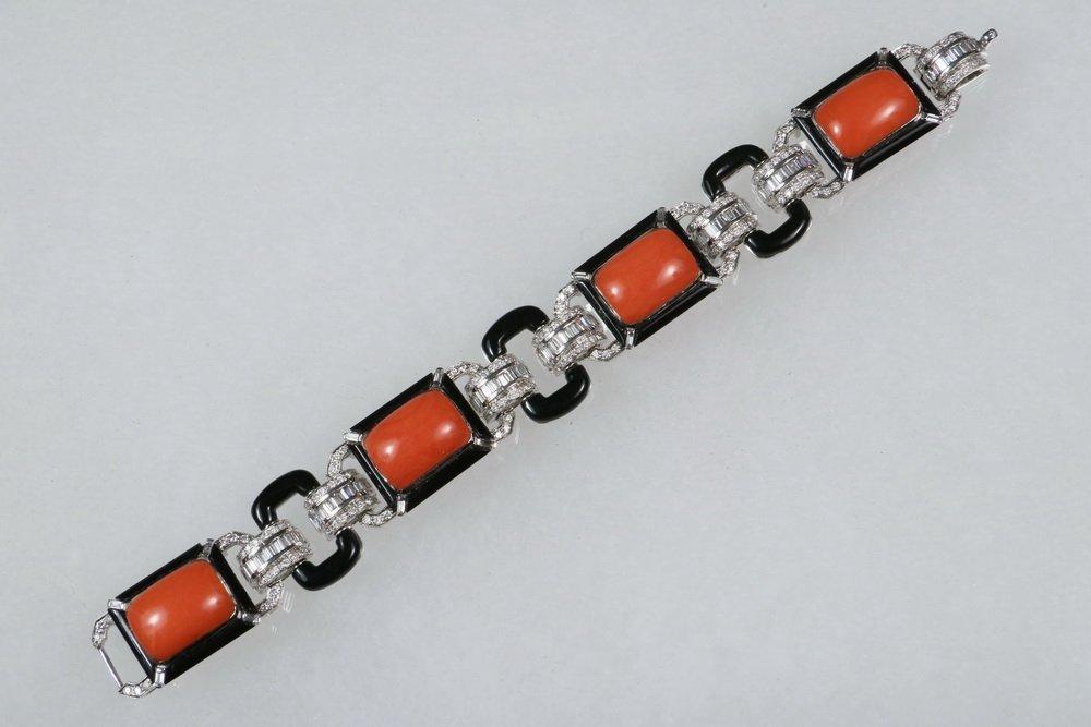 BRACELET - 18K White Gold, Coral, Onyx and Diamond Link - 2