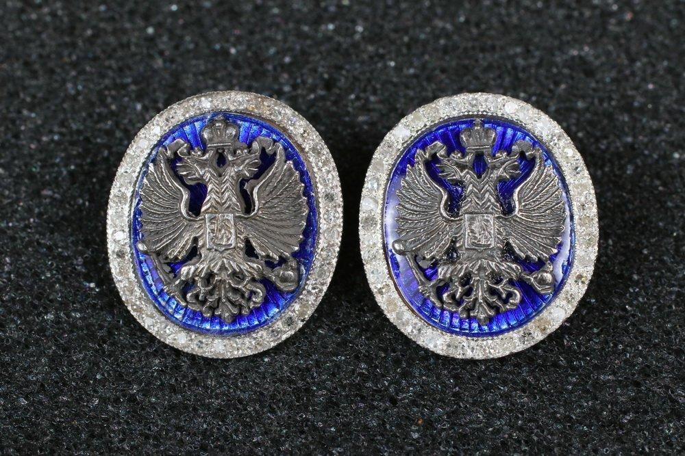 CUFFLINKS - Pair of Russian 14K Yellow Gold, Blue