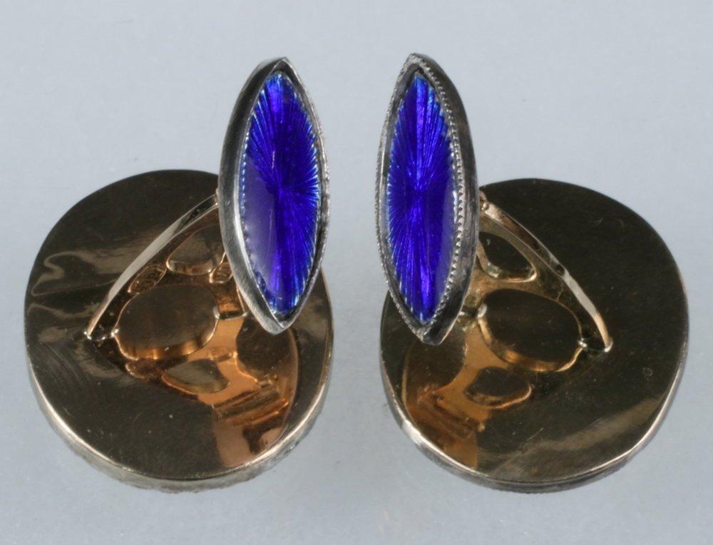 CUFFLINKS - Pair of Russian 14K Yellow Gold, Blue - 2