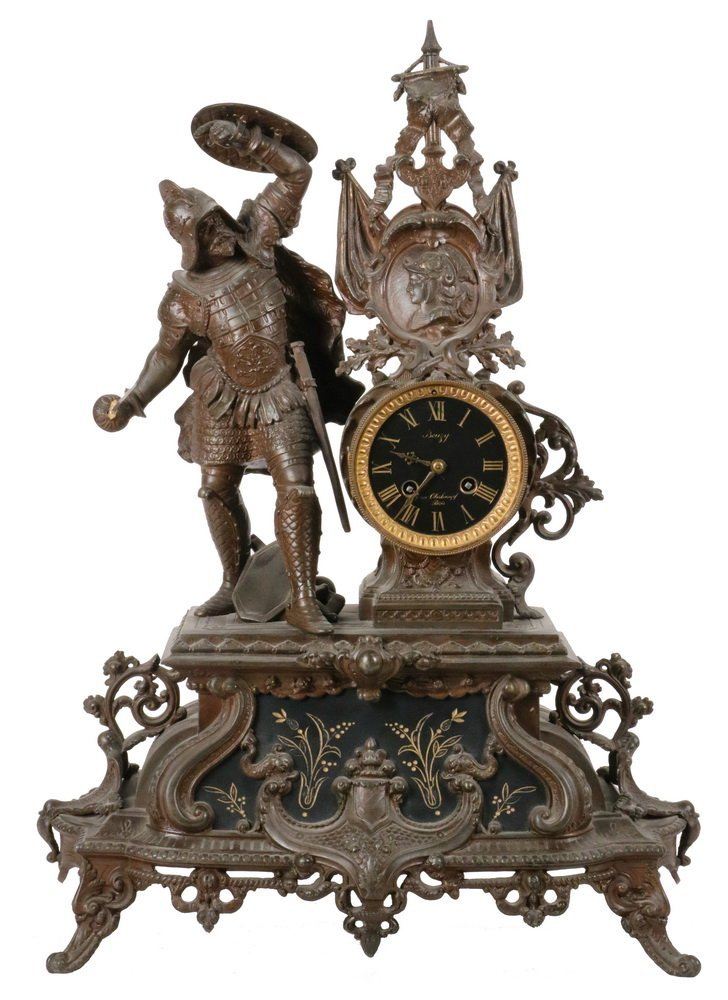 "CLOCK - French Figural Clock, dial marked ""Bouzy, 7 Rue"