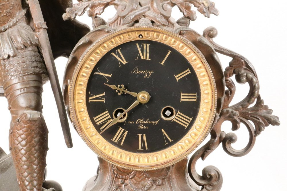 "CLOCK - French Figural Clock, dial marked ""Bouzy, 7 Rue - 2"