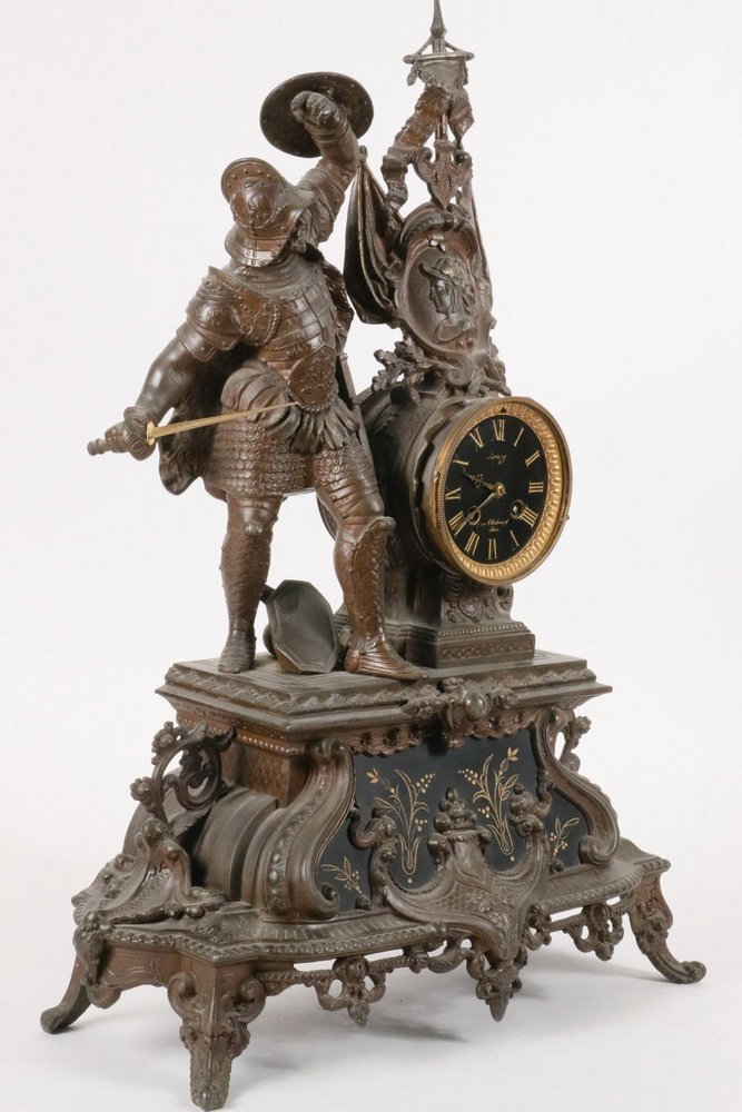 "CLOCK - French Figural Clock, dial marked ""Bouzy, 7 Rue - 3"
