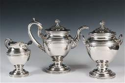 TEA SERVICE - (3) Piece Early 19th c. American Coin