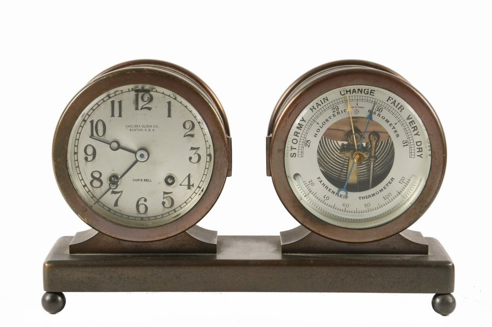 DESK CLOCK/BAROMETER SET - Chelsea Clock Co. of Boston,