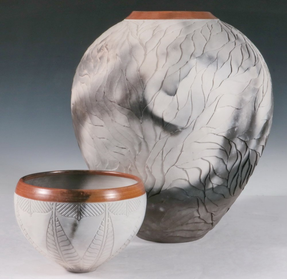 (2 PCS) CONTEMPORARY ART POTTERY - Large Ovoid Vase and