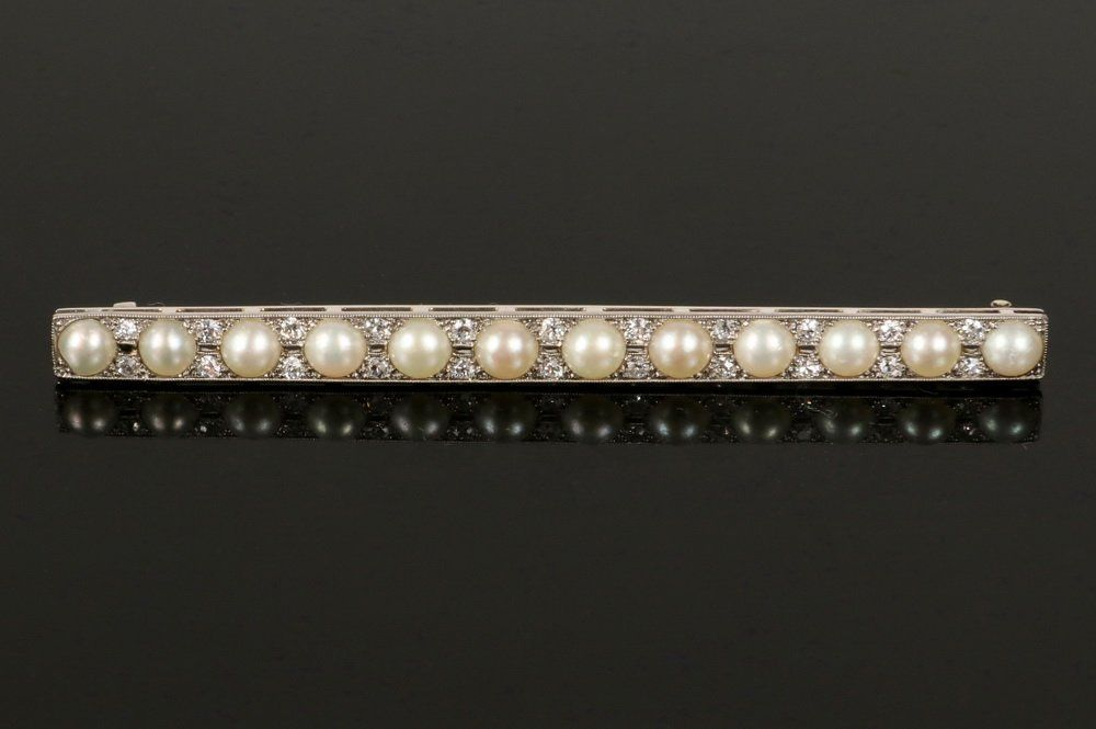 BROOCH - Antique Platinum, Pearl and Diamond Bar Form