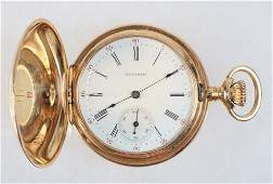 WATCH  14K Yellow Gold Hunter Case Ladys Pocket Watch