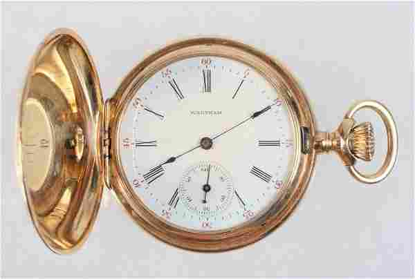 WATCH - 14K Yellow Gold Hunter Case Lady's Pocket Watch
