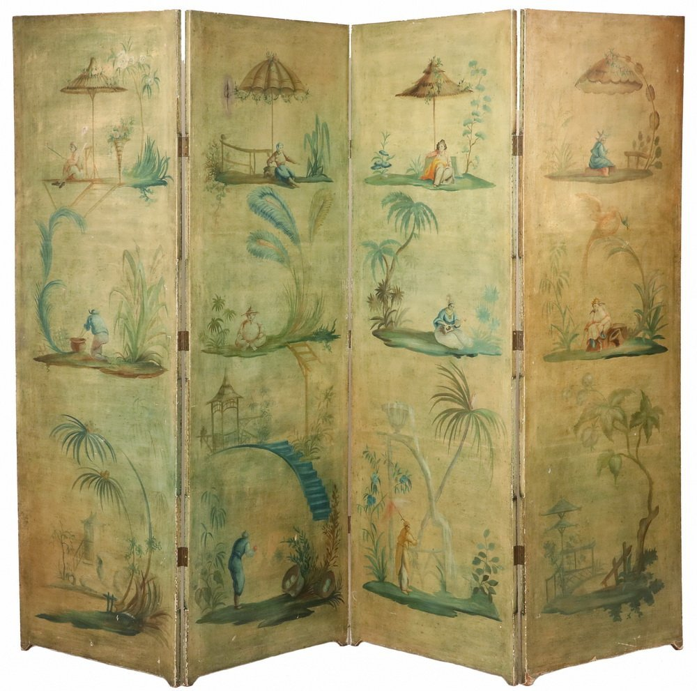 FOUR-PANEL FOLDING SCREEN WITH ORIENTAL THEME - Circa