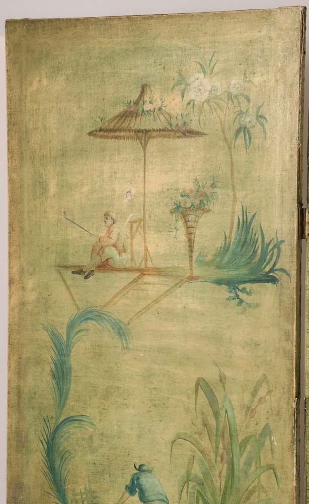 FOUR-PANEL FOLDING SCREEN WITH ORIENTAL THEME - Circa - 2