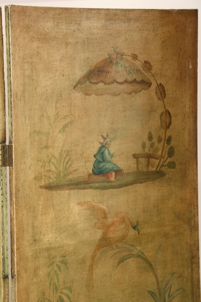 FOUR-PANEL FOLDING SCREEN WITH ORIENTAL THEME - Circa - 6