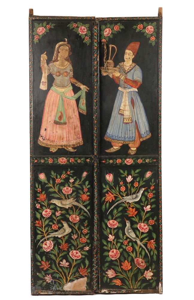 PAIR OF PERSIAN PAINTED WEDDING DOORS - Late 19th c.