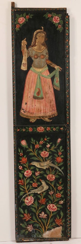 PAIR OF PERSIAN PAINTED WEDDING DOORS - Late 19th c. - 2