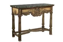 MARBLE TOP HALL TABLE  Circa 1900 Continental Credenza