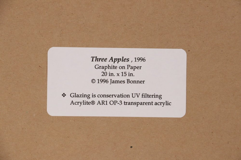 "JAMES BONNER (AR/ME, 1959 - ) - ""Three Apples"", - 4"