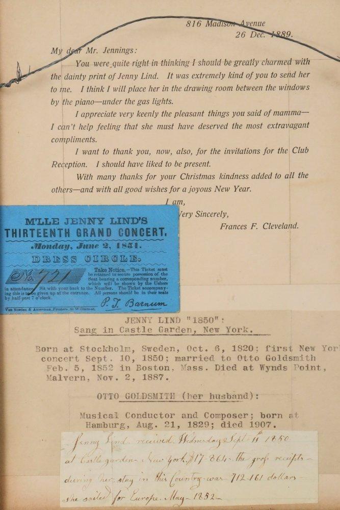 JENNY LIND TICKET W/ EPHEMERA - Framed ticket to Jenny