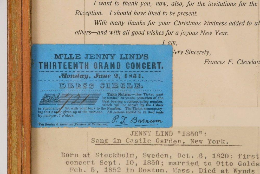 JENNY LIND TICKET W/ EPHEMERA - Framed ticket to Jenny - 2