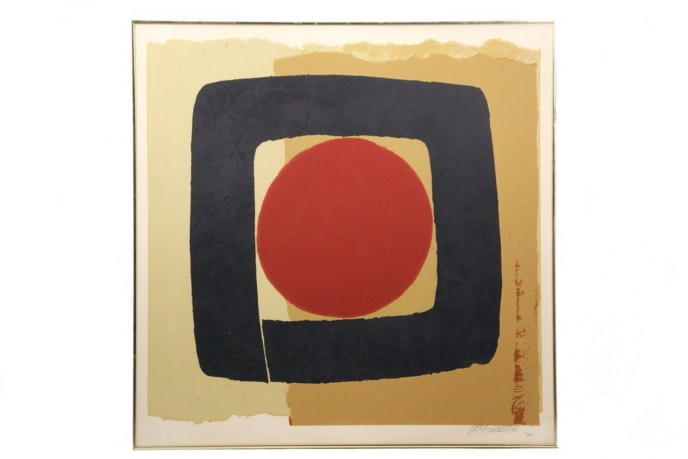 MONUMENTAL ABSTRACT PRINT - Serigraph of Red Circle in