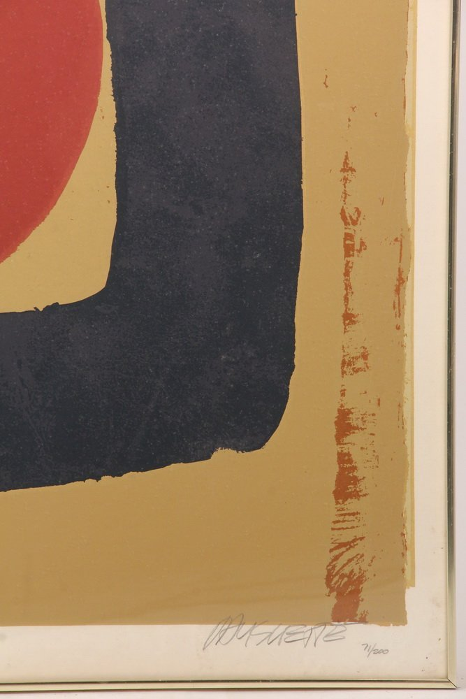 MONUMENTAL ABSTRACT PRINT - Serigraph of Red Circle in - 2