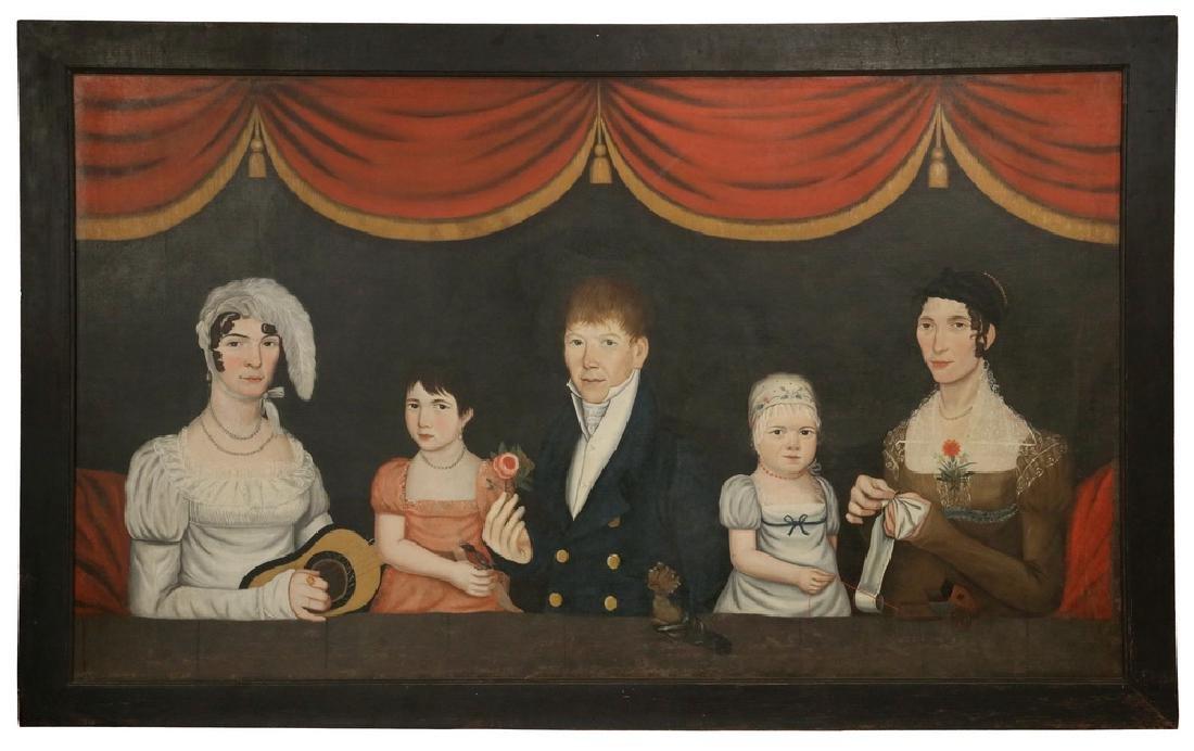 MONUMENTAL AMERICAN FOLK ART FAMILY PORTRAIT