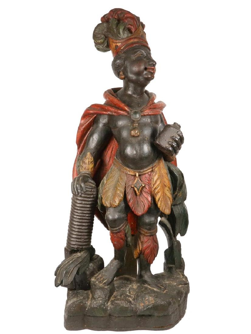 RARE AND IMPORTANT WILLIAM RUSH CARVED TRADE FIGURE
